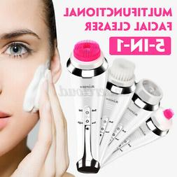 5 in1 Rechargable Electric Facial Skin Care Cleaner Foam Cle