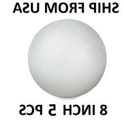 "5 Round White 8""  Polystyrene Foam Ball Modelling Sphere Sty"