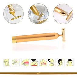 AOBILE NEW 24K Gold Plated Vibration Facial Beauty Roller Ma
