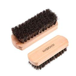 Horsehair Shoe Brushes, Shine Brush Bristles for Boots, Shoe