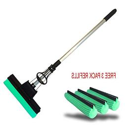 PVA Professional Double Roller Ultra Foam Rubber Mop and 3x