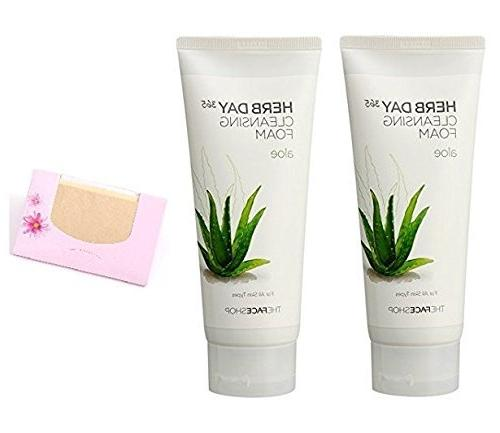 BUNDLE - 2 Pack of The Face Shop Herb Day Aloe Cleansing Foa