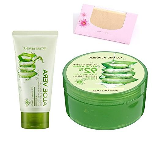 BUNDLE - Nature Republic New Soothing Moisture Aloe Vera GEL