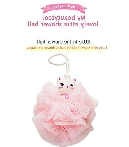 Etude House My Beauty Shower Ball for woman / Cat Design - - Loofahs - Brush - Mesh Bath and Shower Sponge Exfoliating - Body