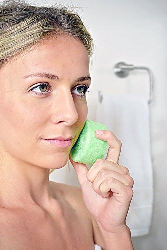 Spongeables Tea Facial Cleanser in a Sponge, Shea Dual-Texture Aromatherapy Exfoliating