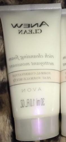Avon Anew Clean Rich Cleansing Foam Mini 1 oz Normal Combina