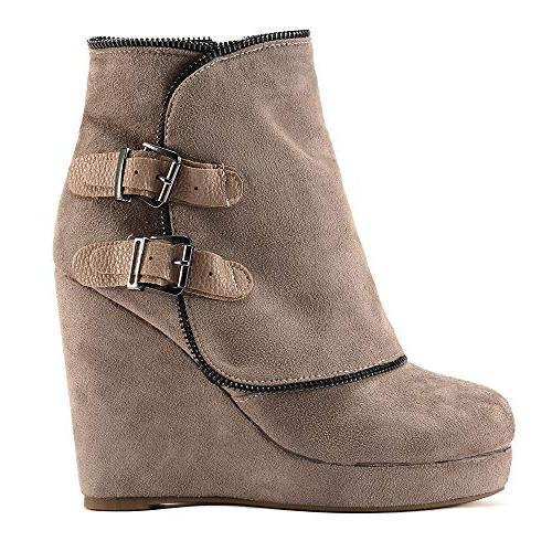 Casual Non-Slip Increase Thick Round Toe Suede Zipper Martin Boots Shoes 5.5-9.5 Womens Retro Wedges Heel Booties