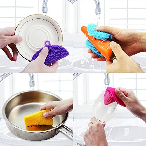 KatHome Silicone Household Multi-Purpose Brush Scrubber FDA approved Food Multi-color 5+2 Pack