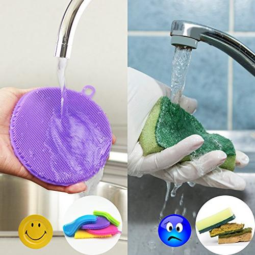 KatHome Household Multi-Purpose Scrubber Sturdy FDA approved Food Grade Multi-color shape 5+2 Pack